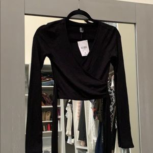 Forever 21 cropped long sleeve faux wrap top
